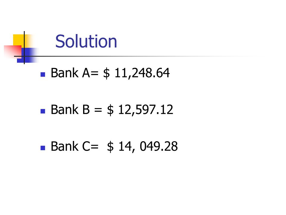 Solution Bank A= $ 11,248.64 Bank B = $ 12,597.12 Bank C= $ 14, 049.28