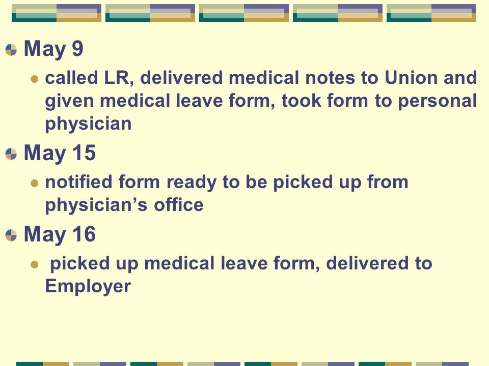 May 9 called LR, delivered medical notes to Union and given medical leave form, took form to personal physician May 15 notified form ready to be picke