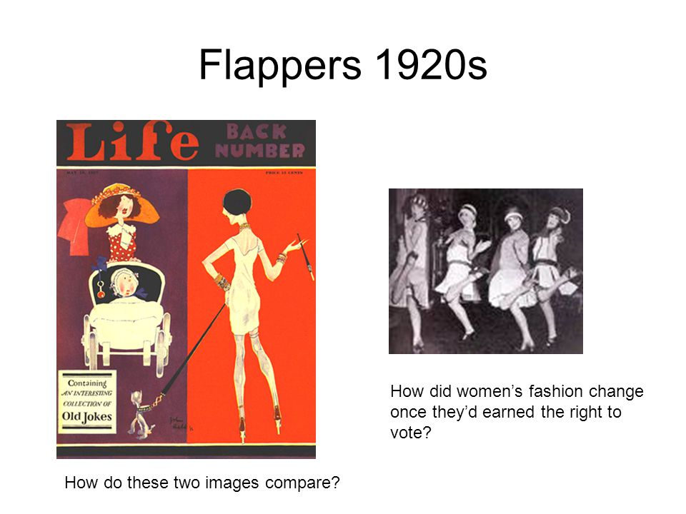 Flappers 1920s How do these two images compare? How did women's fashion change once they'd earned the right to vote?