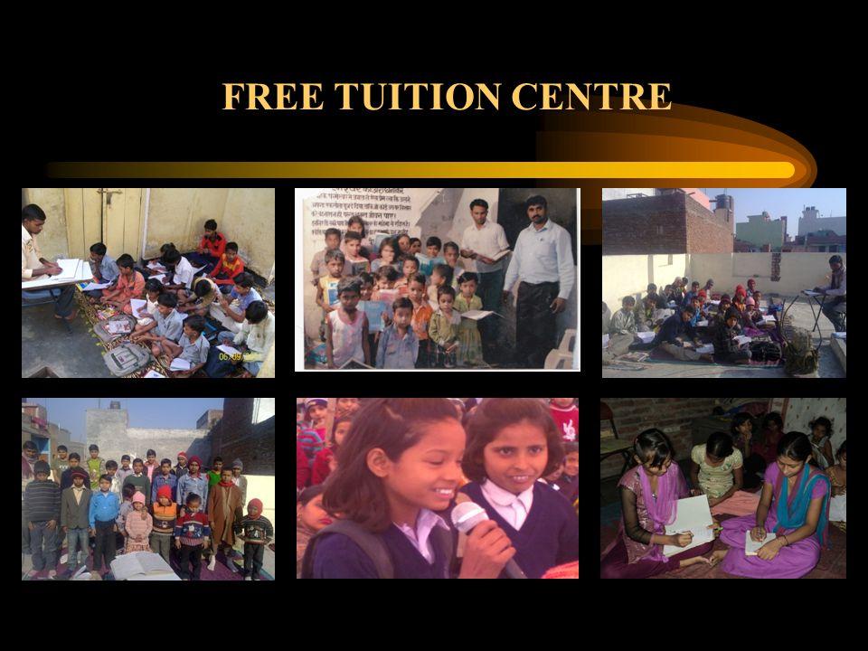 Sl. NoYearTuition Center / Place in Delhi No. of Center/s ClassNo. of Children No. of tutor/s 12008Biharipur & Kalyanpuri2 1 st – 8 th class804 22009B