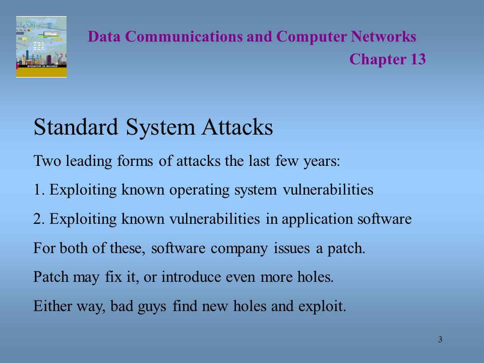3 Data Communications and Computer Networks Chapter 13 Standard System Attacks Two leading forms of attacks the last few years: 1. Exploiting known op