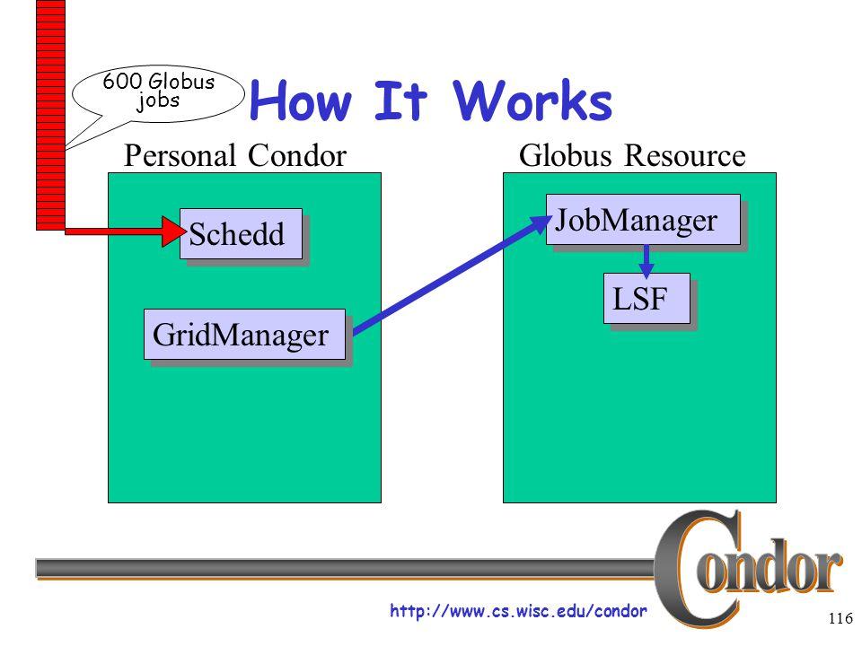 http://www.cs.wisc.edu/condor 116 How It Works Schedd JobManager LSF Personal CondorGlobus Resource GridManager 600 Globus jobs