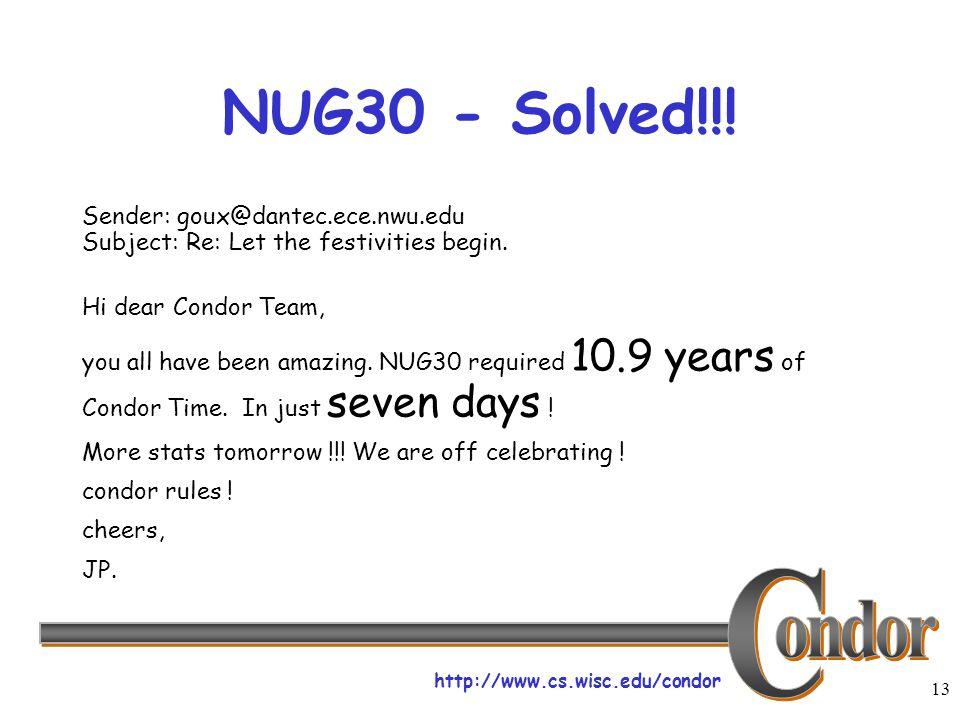 http://www.cs.wisc.edu/condor 13 NUG30 - Solved!!.