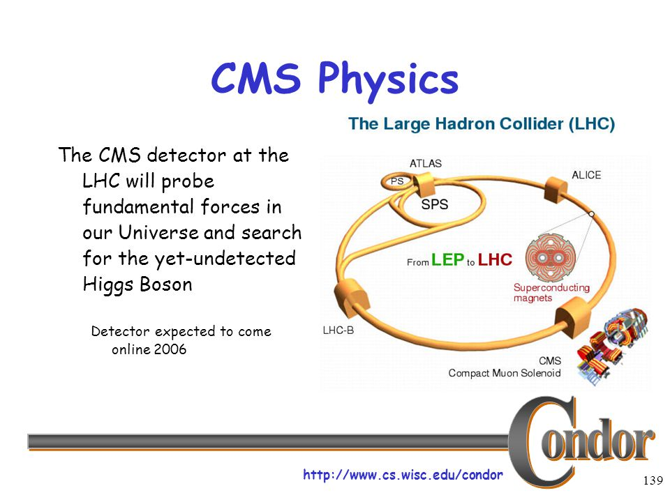 http://www.cs.wisc.edu/condor 139 CMS Physics The CMS detector at the LHC will probe fundamental forces in our Universe and search for the yet-undetec