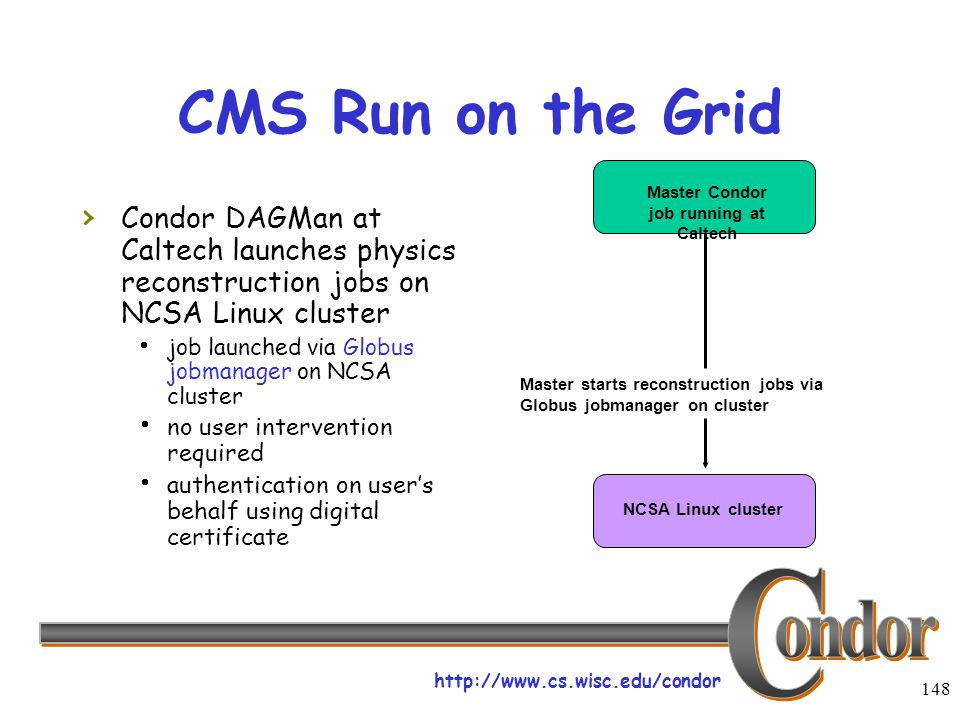 http://www.cs.wisc.edu/condor 148 CMS Run on the Grid › Condor DAGMan at Caltech launches physics reconstruction jobs on NCSA Linux cluster  job launched via Globus jobmanager on NCSA cluster  no user intervention required  authentication on user's behalf using digital certificate Master Condor job running at Caltech Master starts reconstruction jobs via Globus jobmanager on cluster NCSA Linux cluster