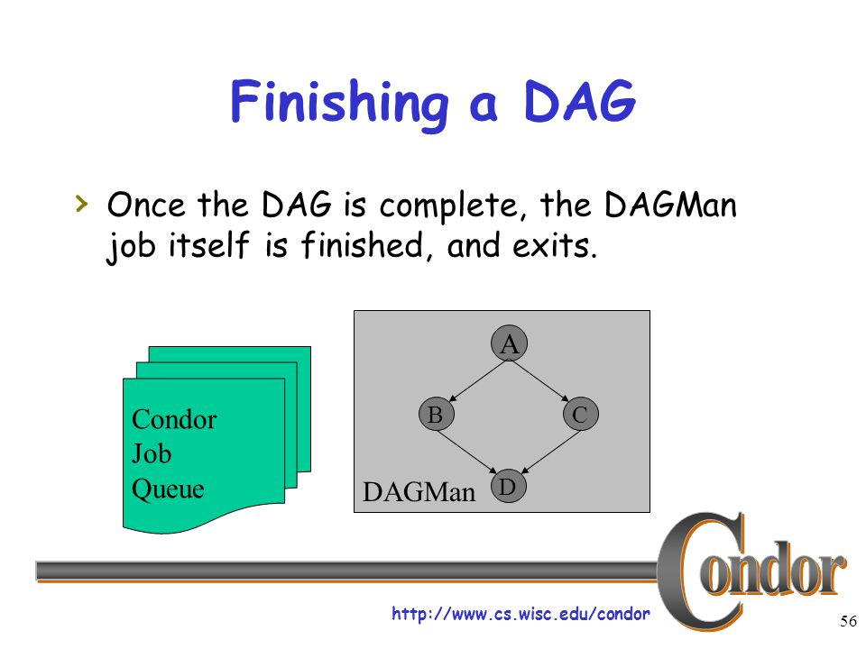 http://www.cs.wisc.edu/condor 56 DAGMan Finishing a DAG › Once the DAG is complete, the DAGMan job itself is finished, and exits. Condor Job Queue C D