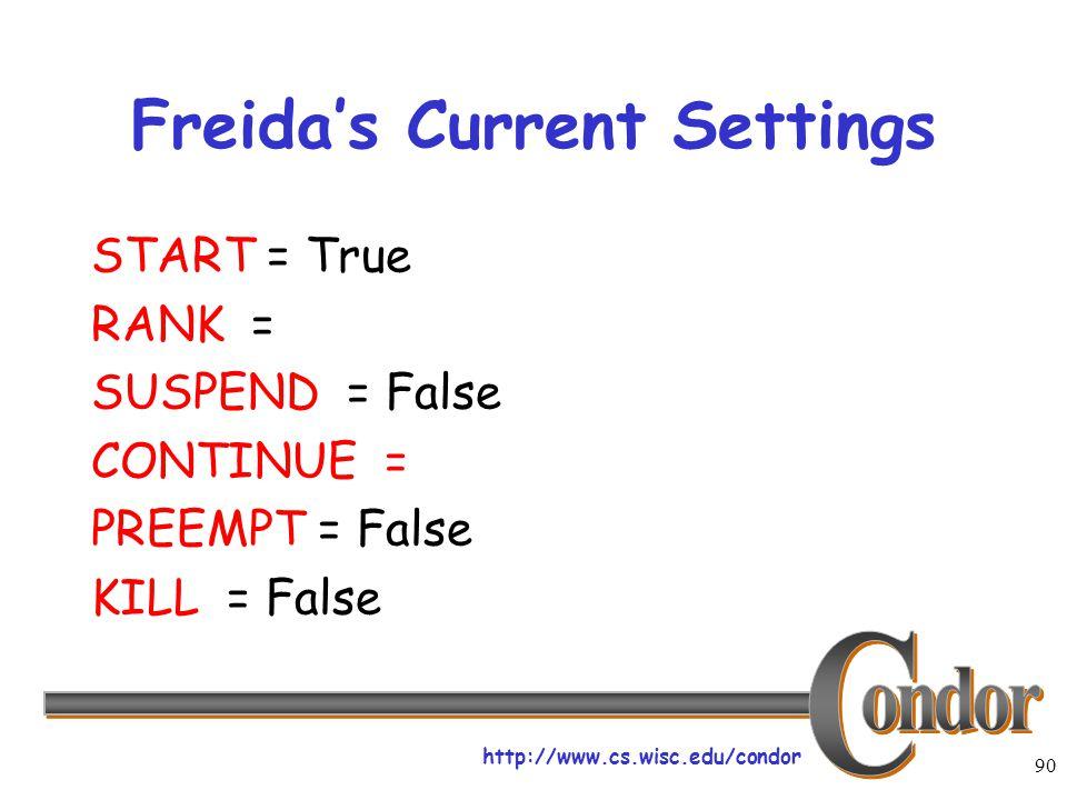 http://www.cs.wisc.edu/condor 90 Freida's Current Settings START = True RANK = SUSPEND = False CONTINUE = PREEMPT = False KILL = False