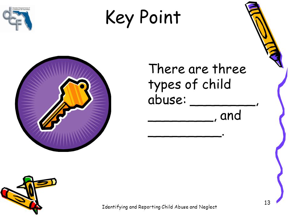 Identifying and Reporting Child Abuse and Neglect 13 Key Point There are three types of child abuse: ________, ________, and _________.