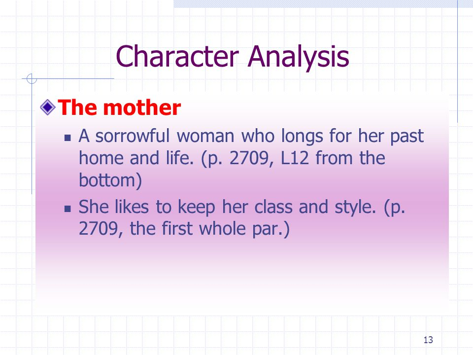 13 Character Analysis The mother A sorrowful woman who longs for her past home and life.