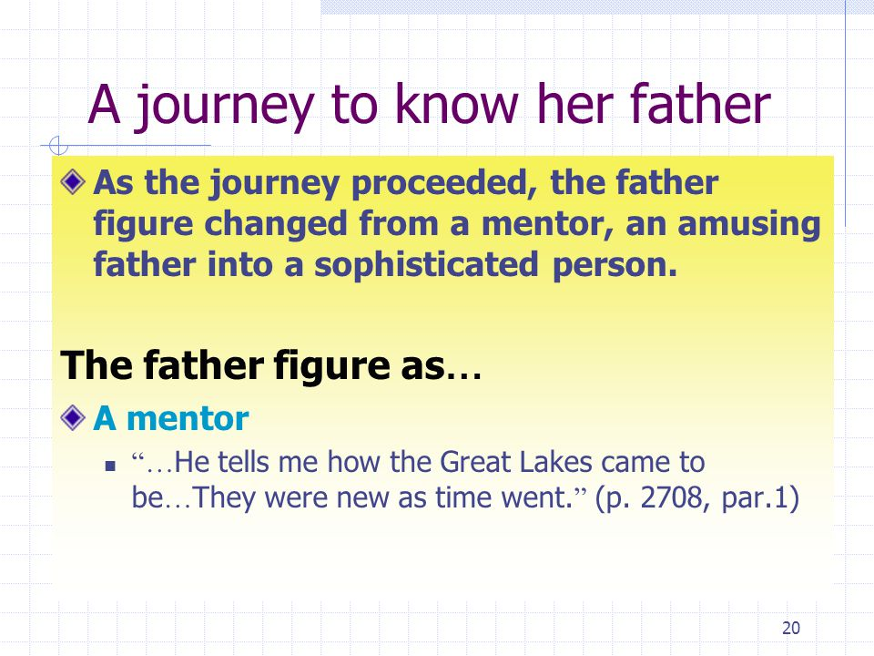 20 A journey to know her father As the journey proceeded, the father figure changed from a mentor, an amusing father into a sophisticated person.