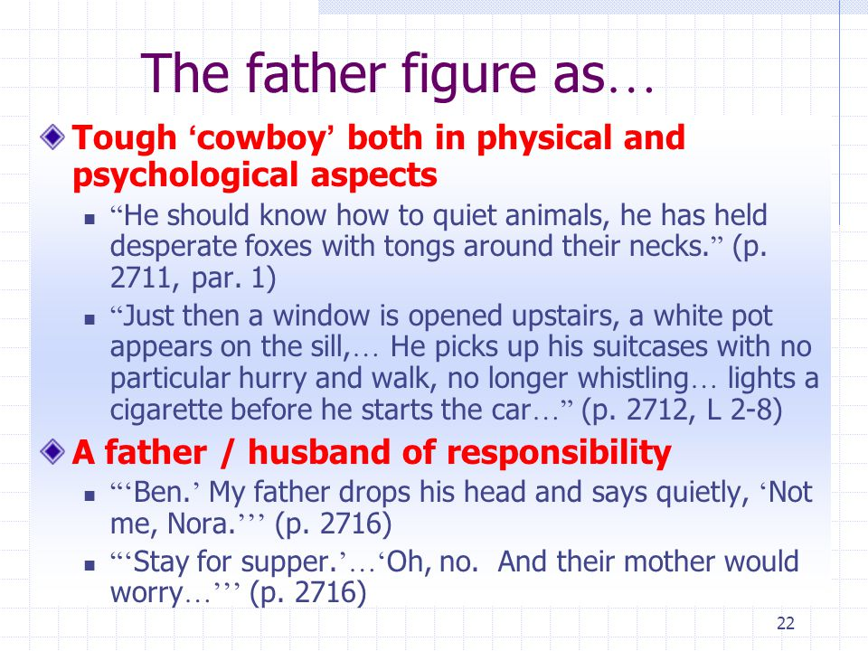 22 The father figure as … Tough ' cowboy ' both in physical and psychological aspects He should know how to quiet animals, he has held desperate foxes with tongs around their necks.
