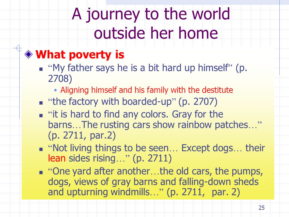 25 A journey to the world outside her home What poverty is My father says he is a bit hard up himself (p.