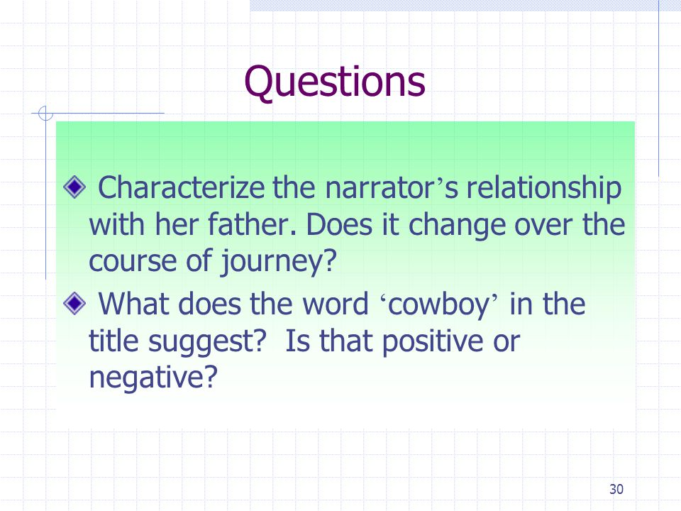 30 Questions Characterize the narrator ' s relationship with her father.