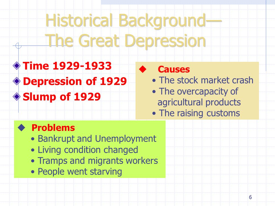 6 Historical Background— The Great Depression Time 1929-1933 Depression of 1929 Slump of 1929  Problems Bankrupt and Unemployment Living condition changed Tramps and migrants workers People went starving  Causes The stock market crash The overcapacity of agricultural products The raising customs