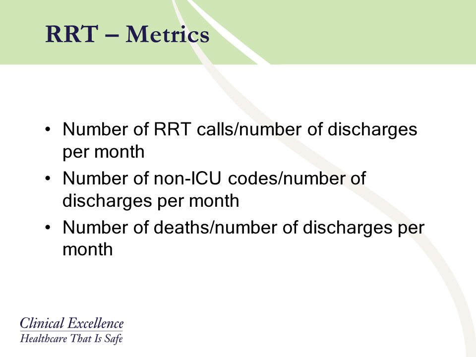 Number of RRT calls/number of discharges per month Number of non-ICU codes/number of discharges per month Number of deaths/number of discharges per mo