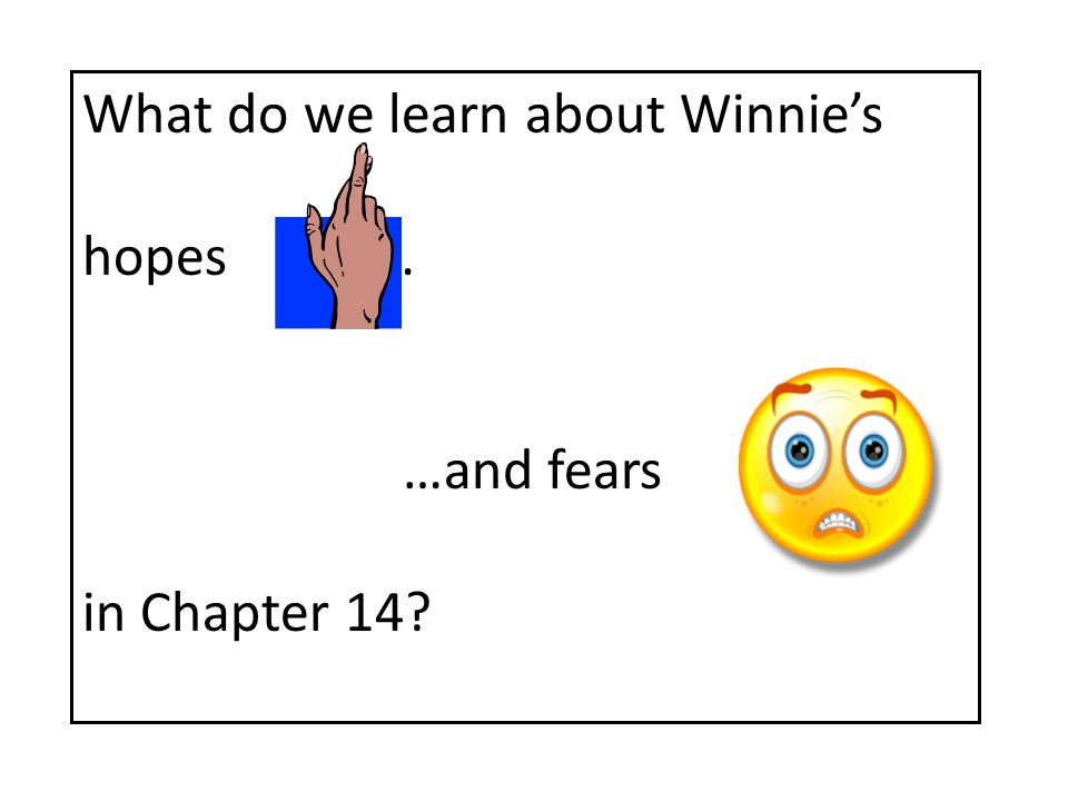 What do we learn about Winnie's hopes … …and fears in Chapter 14?