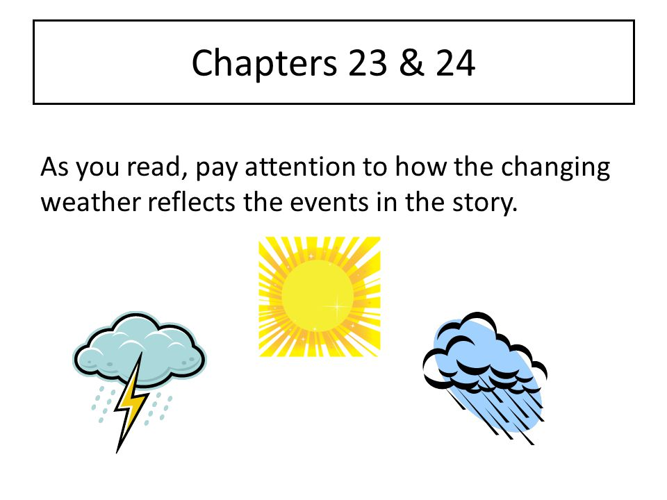 Chapters 23 & 24 As you read, pay attention to how the changing weather reflects the events in the story.