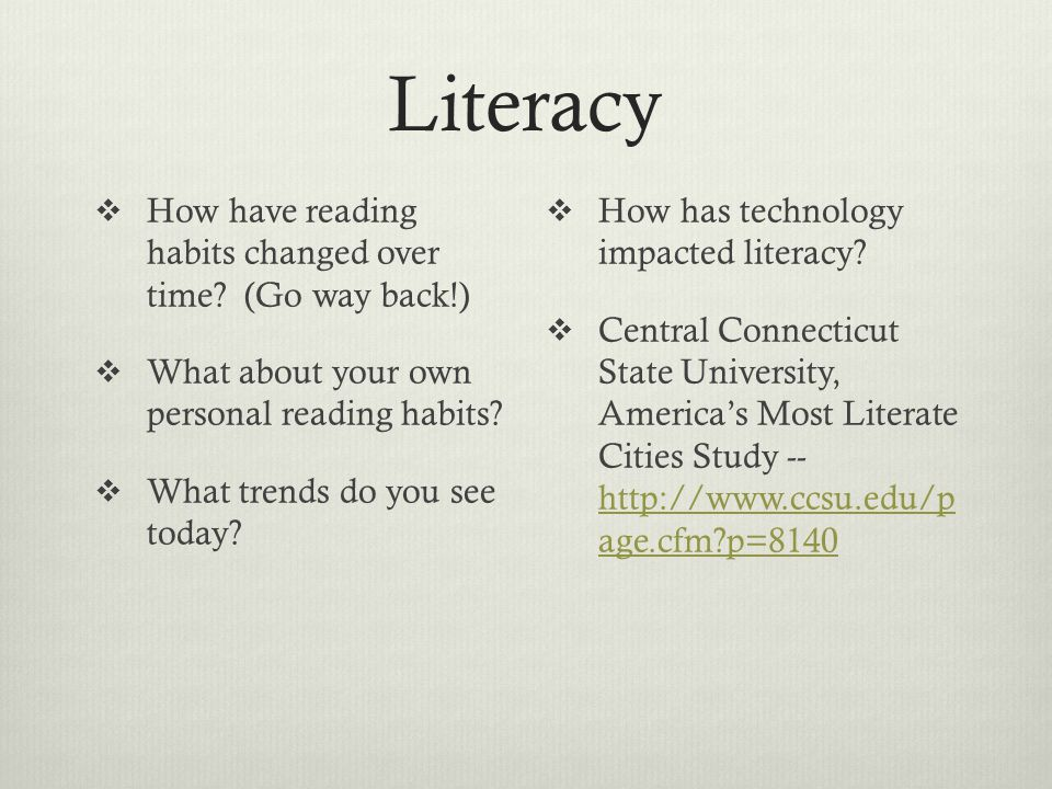 Literacy  How have reading habits changed over time.