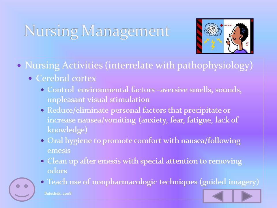 Nursing diagnosis-Nausea Outcome-control of nausea and vomiting Intervention-nausea and vomiting management Nursing activities Identify risk factors N/V pre and postoperatively Evaluate past experiences with nausea Complete assessment N/V –frequency, duration, severity, precipitating factors (use tool, i.e.