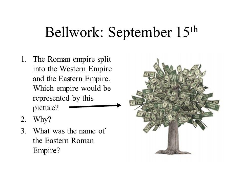 Bellwork: September 15 th 1.The Roman empire split into the Western Empire and the Eastern Empire.