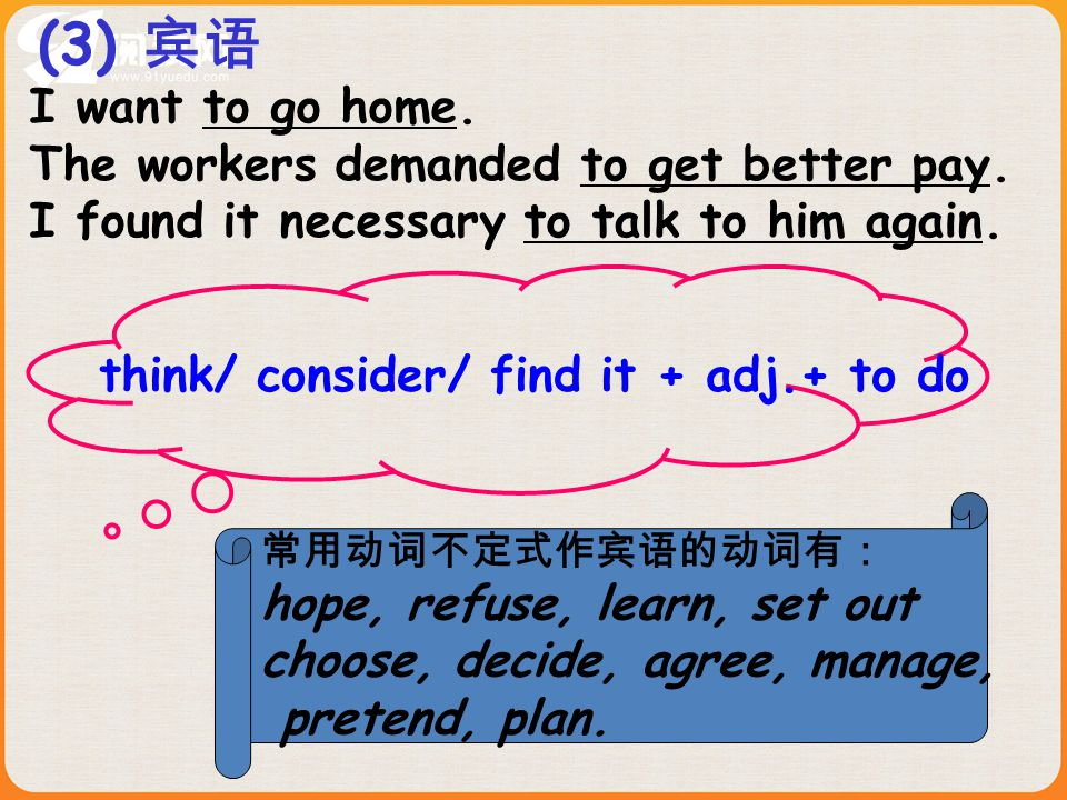 I want to go home. The workers demanded to get better pay. I found it necessary to talk to him again. (3) 宾语 think/ consider/ find it + adj.+ to do 常用