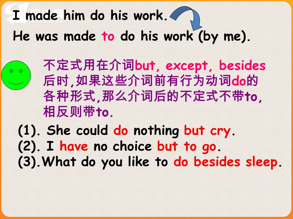 1.My teacher was made _____ his teaching because of poor health.