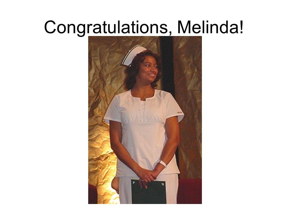 Congratulations, Melinda!