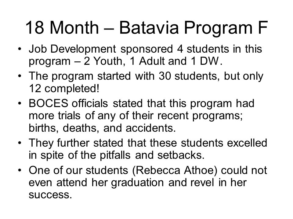 18 Month – Batavia Program F Job Development sponsored 4 students in this program – 2 Youth, 1 Adult and 1 DW.