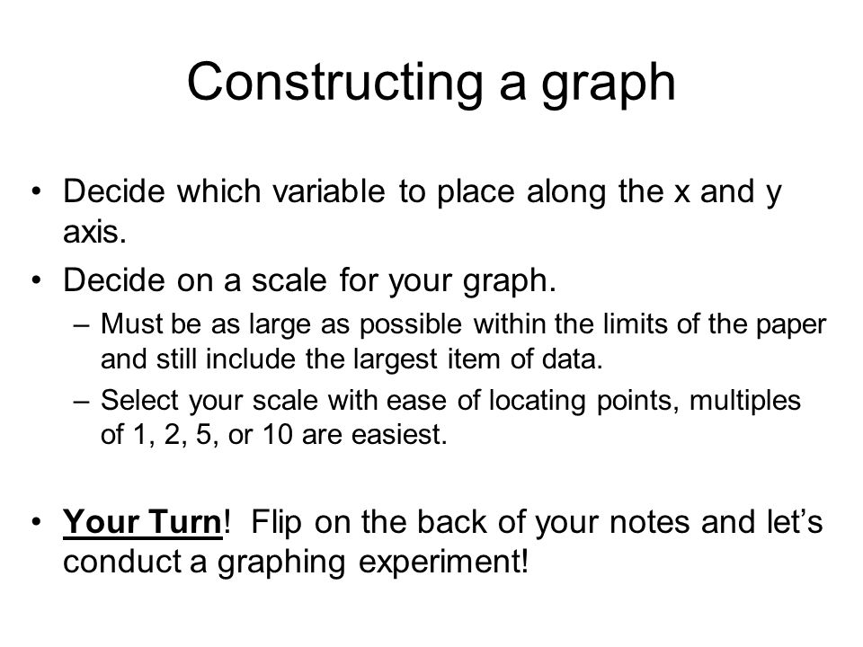 Constructing a graph Decide which variable to place along the x and y axis.