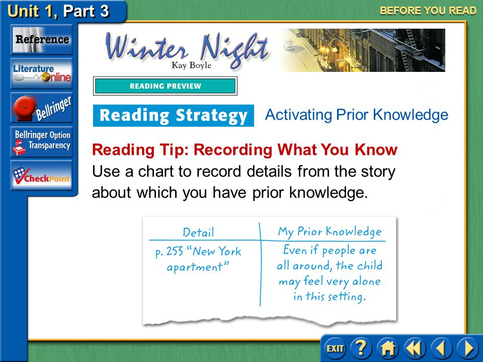 Unit 1, Part 3 Winter Night BEFORE YOU READ Activating Prior Knowledge Activating prior knowledge is considering what you already know about the world and using that knowledge to deepen your understanding of the literary work you are reading.
