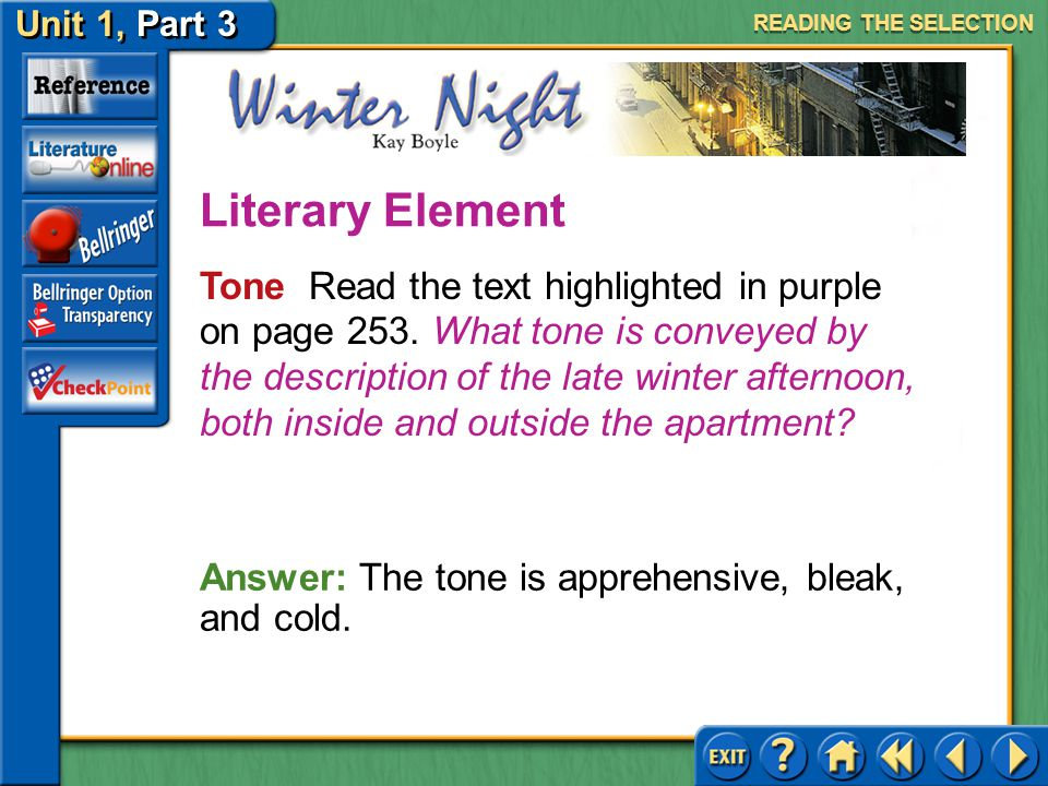 Unit 1, Part 3 Winter Night Life Transitions Keep the following questions in mind as you read.