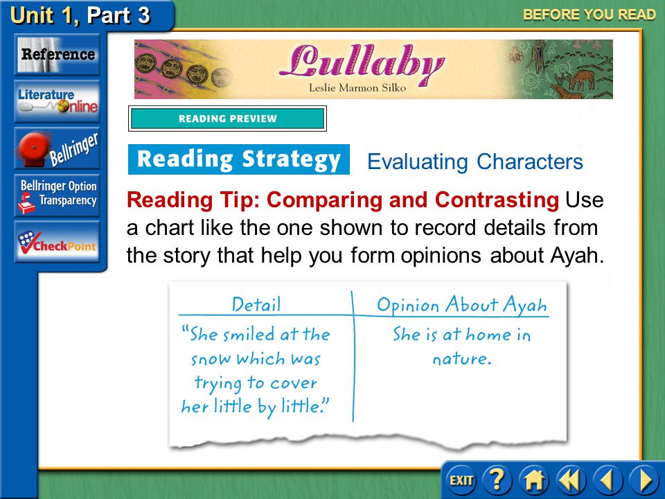 Unit 1, Part 3 Lullaby BEFORE YOU READ Evaluating Characters Characters are the people portrayed in a literary work.