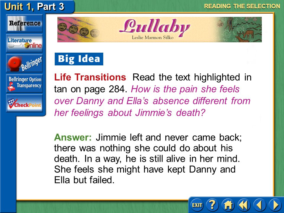 Unit 1, Part 3 Lullaby Life Transitions Read the text highlighted in tan on page 284.