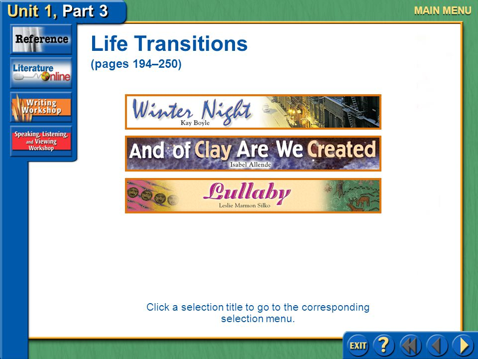 Unit 1, Part 3 Click the mouse button or press the space bar to continue UNIT 1, Part 3 Life Transitions