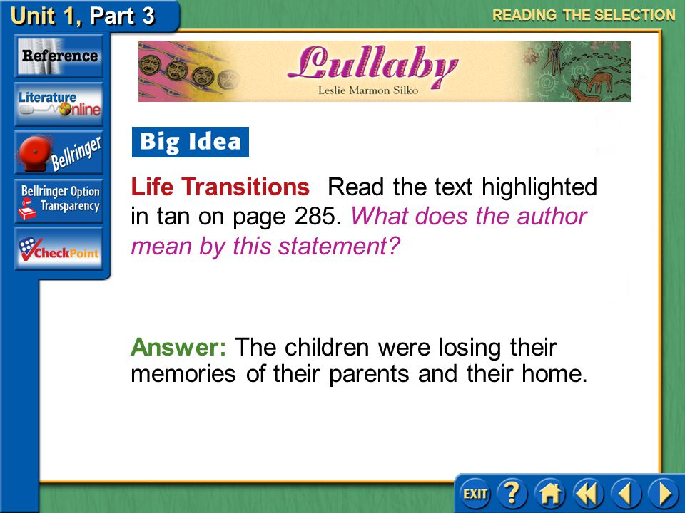Unit 1, Part 3 Lullaby Evaluating Characters Read the first paragraph in the second column on page 285.