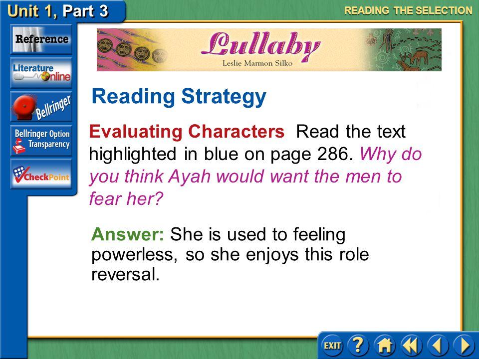 Unit 1, Part 3 Lullaby Sensory Descriptions The author uses sensory descriptions to enhance the reading experience.