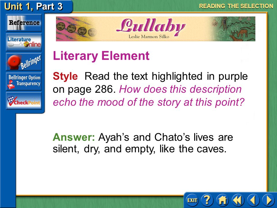 Unit 1, Part 3 Lullaby Evaluating Characters Read the text highlighted in blue on page 286.