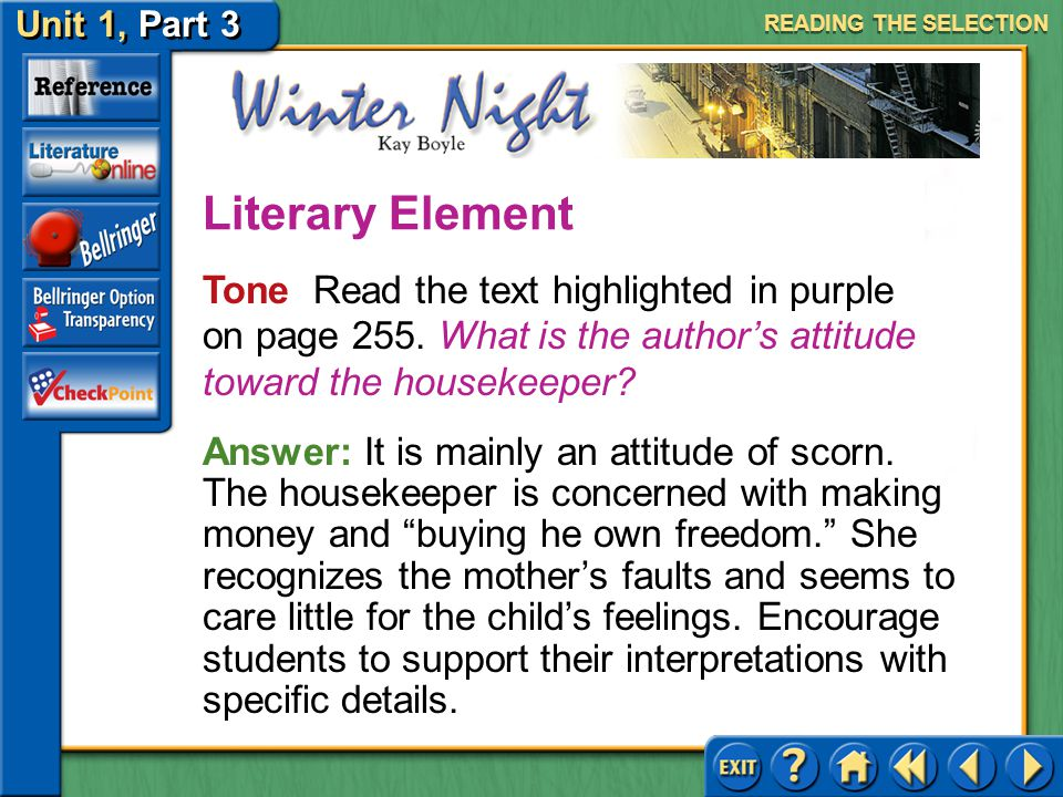 Unit 1, Part 3 Winter Night Activating Prior Knowledge Read the text highlighted in blue on page 254.