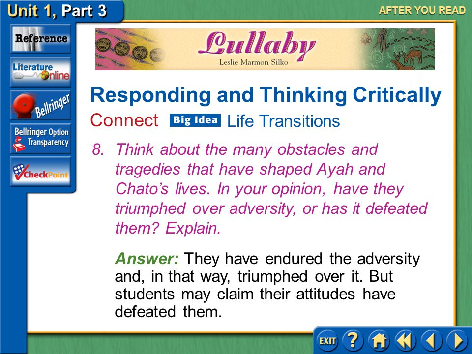 Unit 1, Part 3 Lullaby AFTER YOU READ Answer: (a) Ayah lives in the past; Chato is an alcoholic.