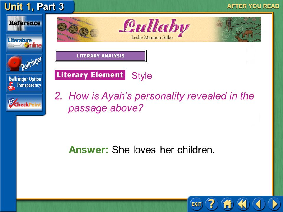 Unit 1, Part 3 Lullaby AFTER YOU READ Answer: Ayah remembers her mother and grandmother weaving blankets.