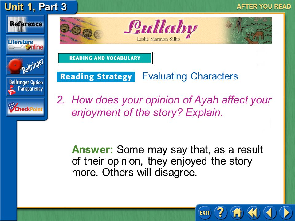 Unit 1, Part 3 Lullaby AFTER YOU READ Answer: You may have a negative opinion of Ayah because she did not do more to keep her children and did not support Chato enough.