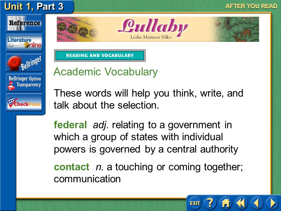 Unit 1, Part 3 Lullaby AFTER YOU READ Practice 4.distortion A.Latin B.Spanish C.Greek D.French
