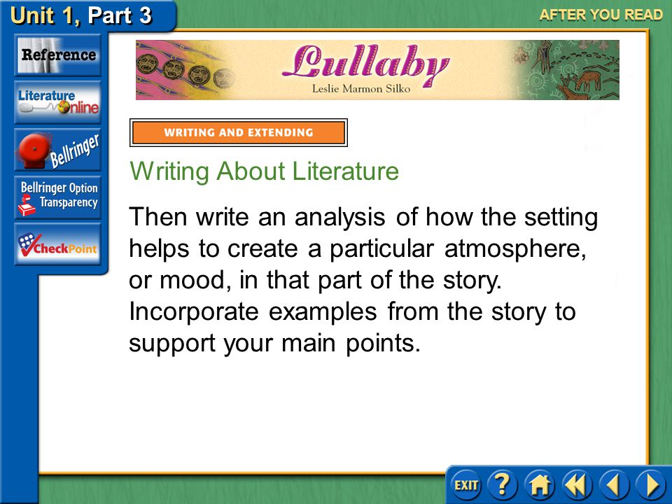 Unit 1, Part 3 Lullaby AFTER YOU READ Writing About Literature Analyze Setting and Mood The narrator of Lullaby describes a variety of settings in which present and past events take place.