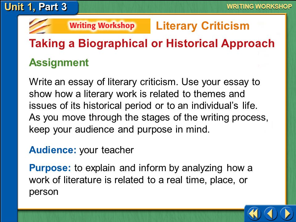 Unit 1, Part 3 Writing Workshop WRITING WORKSHOP Taking a Biographical or Historical Approach Literary Criticism Rubric: Features of Literary Criticism