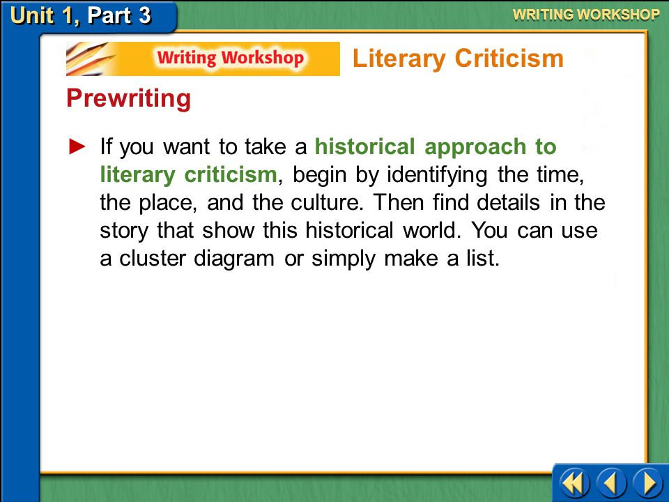 Unit 1, Part 3 Writing Workshop WRITING WORKSHOP Prewriting Find the Work and Decide Your Approach The work of literature you choose must contain enough biographical or historical details for a successful essay.