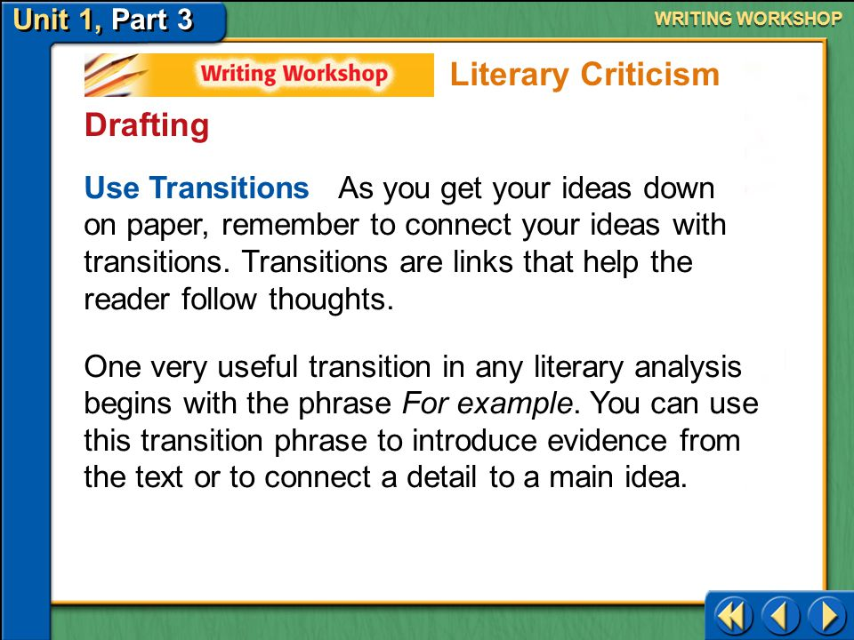 Unit 1, Part 3 Writing Workshop WRITING WORKSHOP Prewriting Talk About Your Ideas Meet with a partner.
