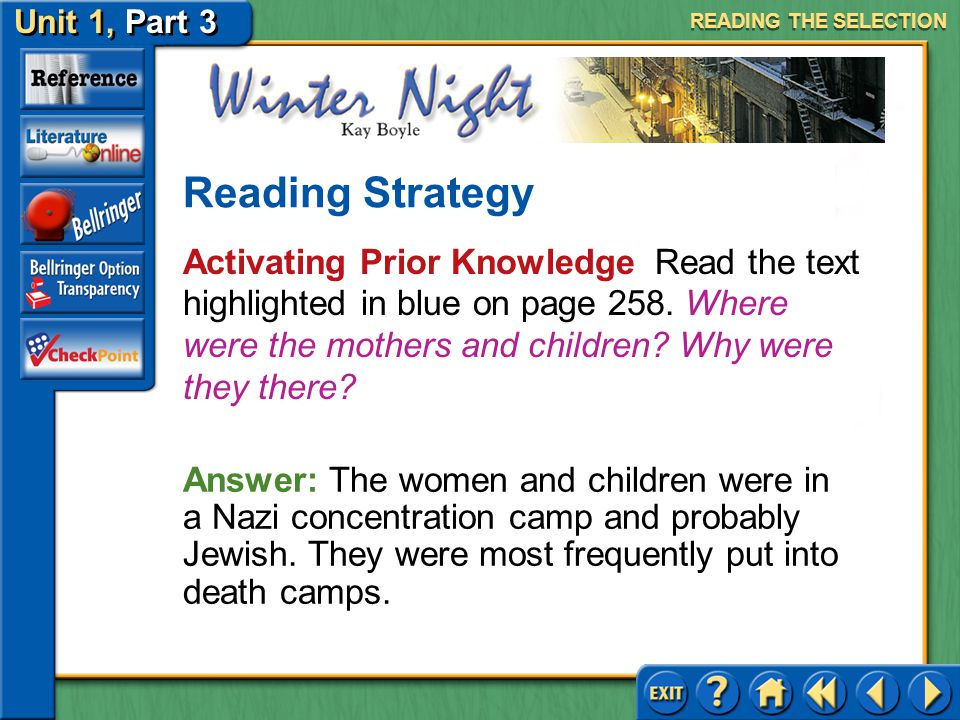 Unit 1, Part 3 Winter Night Tone Read the text highlighted in purple on page 258.