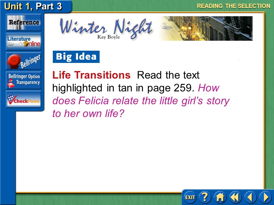 Unit 1, Part 3 Winter Night Activating Prior Knowledge Read the text highlighted in blue on page 259.