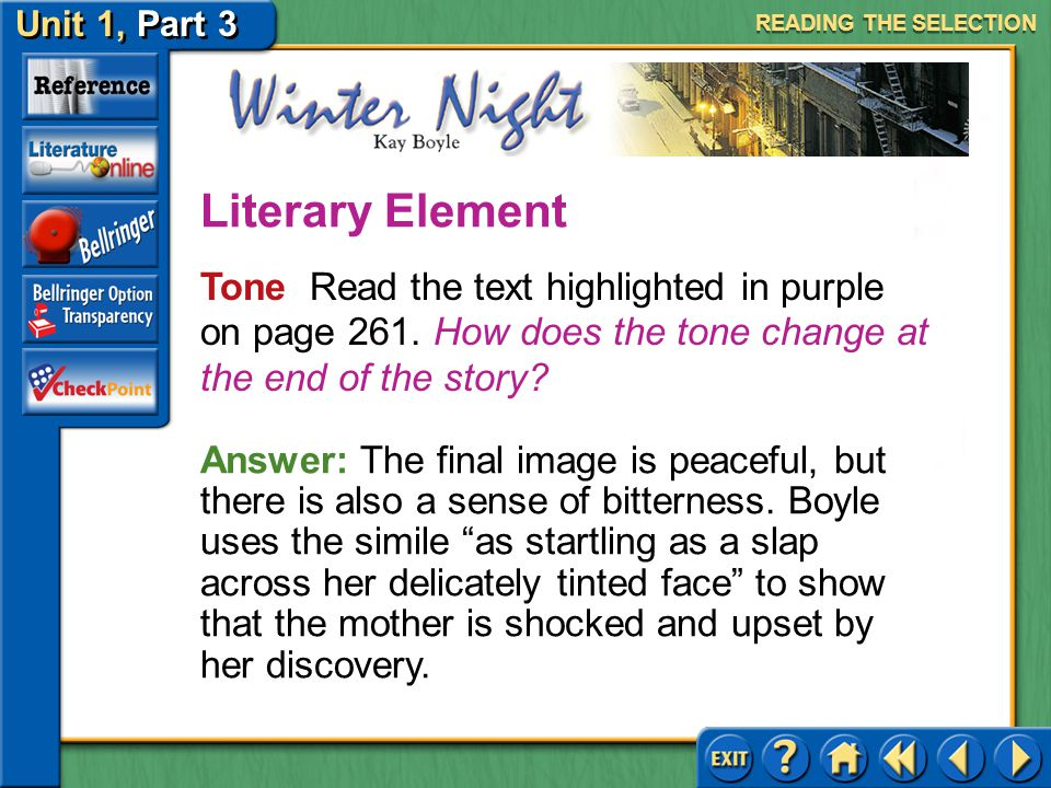 Unit 1, Part 3 Winter Night Life Transitions Read the text highlighted in tan on page 261.
