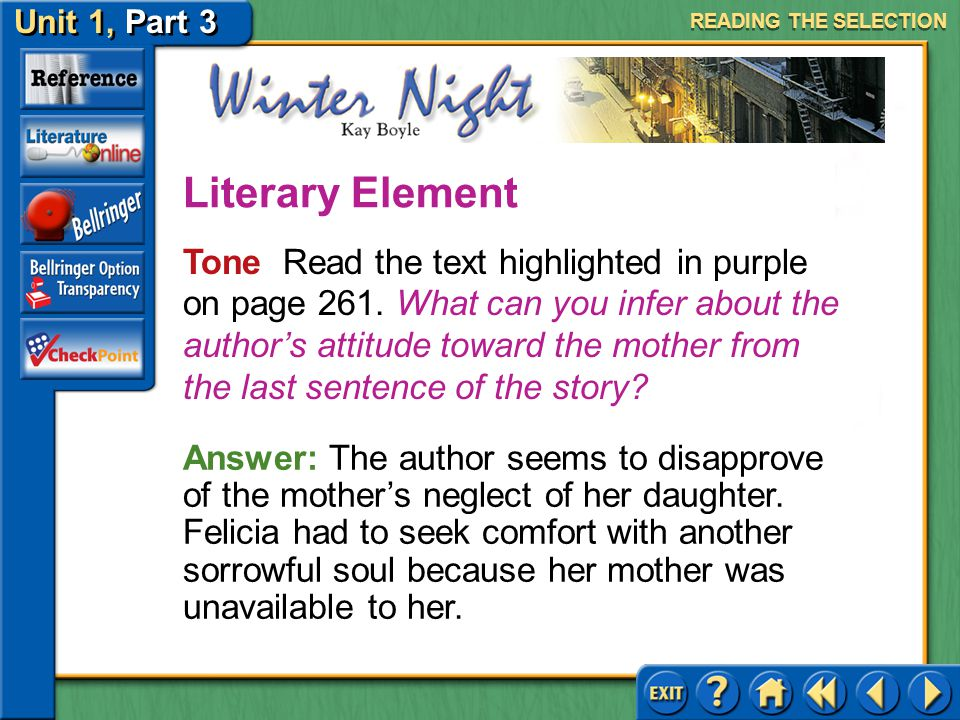 Unit 1, Part 3 Winter Night Tone Read the text highlighted in purple on page 261.